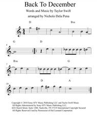 download back to december easy to ready alphabetized notes with chords sheet music by taylor. Black Bedroom Furniture Sets. Home Design Ideas