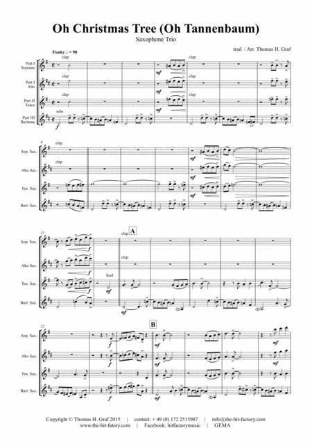 Oh Christmas tree - Oh Tannenbaum - Funky - Saxophone Trio