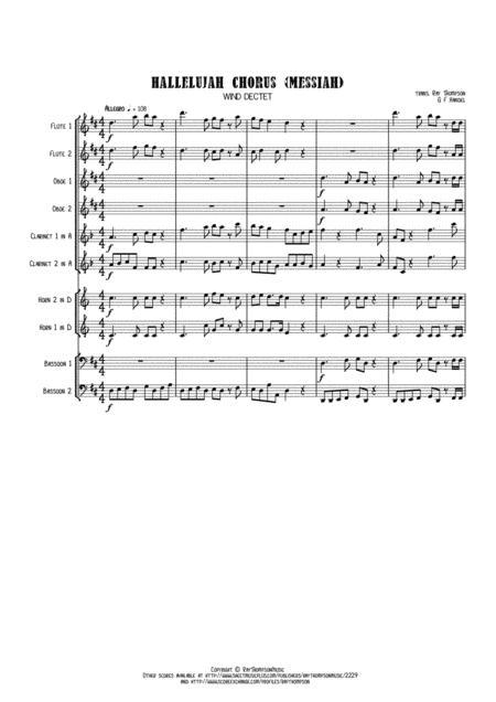 Handel: Messiah (Der Messias)  Hallelujah Chorus (original key of D) - wind dectet