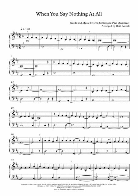 When You Say Nothing At All (easy piano)