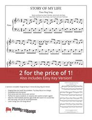 Story Of My Life (Simplified and Easy Key Piano Solos) - One Direction
