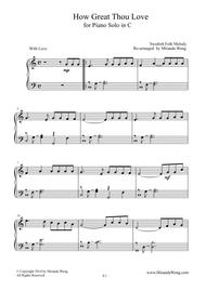 How Great Thou Love - Children Piano Solo in C Key