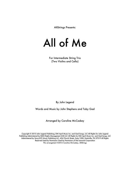 All Of Me - String Trio (Two Violins and Cello)