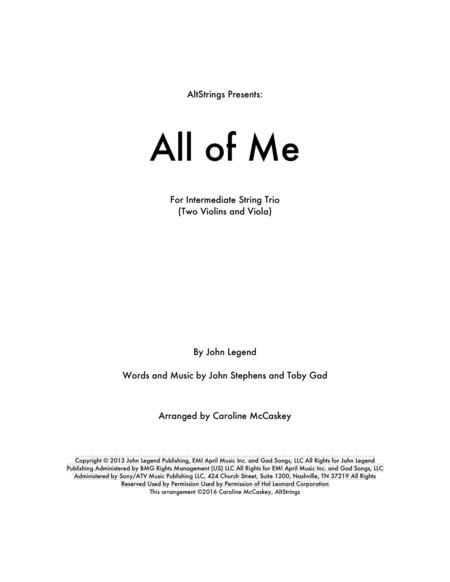All Of Me - String Trio (Two Violins and Viola)