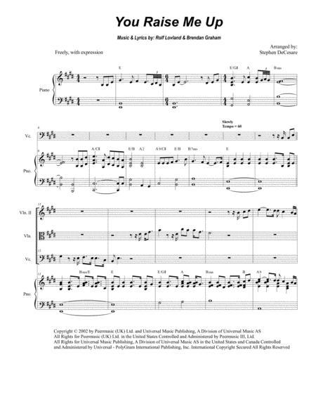 You Raise Me Up (for String Quartet)