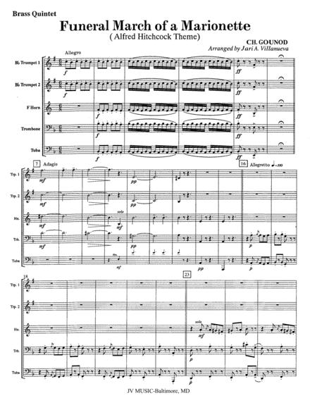 Funeral March of a Marionette for Brass Quintet (Alfred Hitchcock Theme)