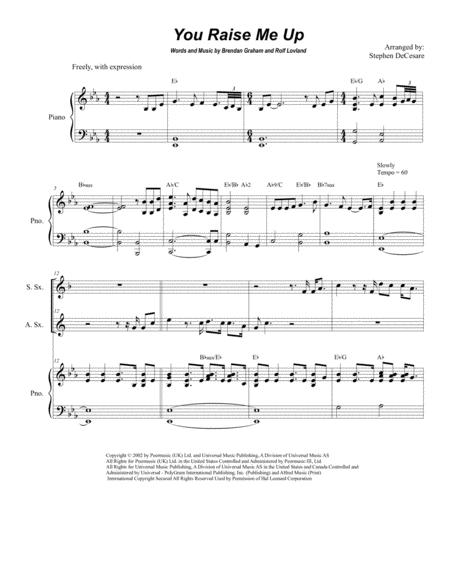 You Raise Me Up (Duet for Soprano and Alto Saxophone)