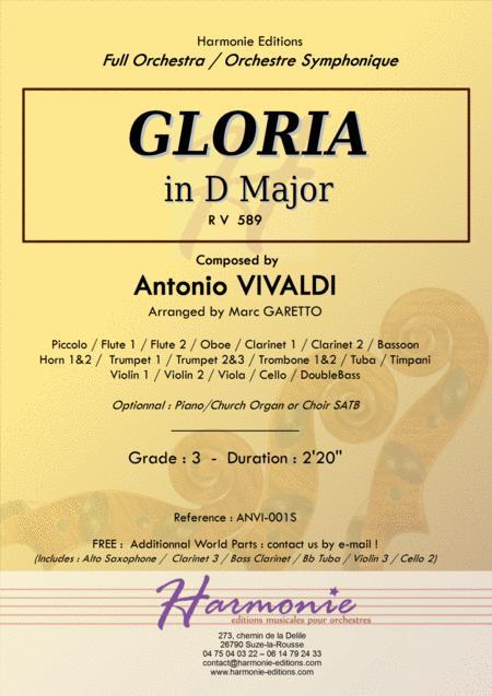 GLORIA RV 589 - Antonio VIVALDI - for Full Orchestra - Arr. Marc Garetto / Optionnal Organ and Choir