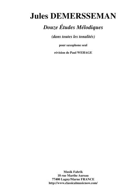 Jules Demersseman: Douze Études (Twelve Etudes) in all keys for any saxophone