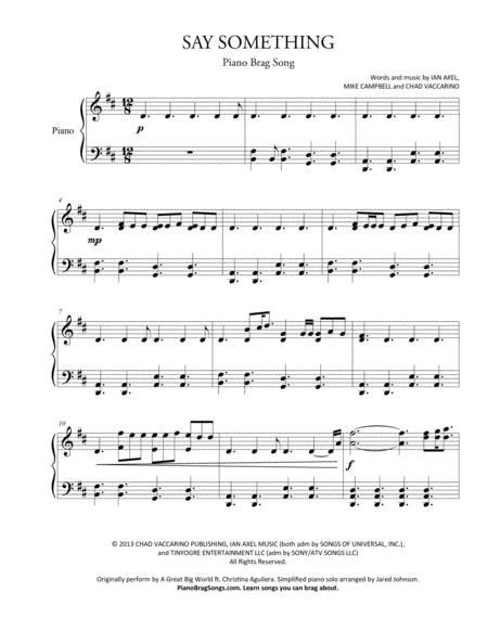 Download Say Something Short Piano Solo Sheet Music By A Great Big