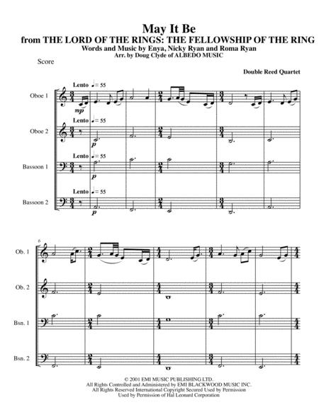 May It Be from THE LORD OF THE RINGS: THE FELLOWSHIP OF THE RING for Double Reed Quartet