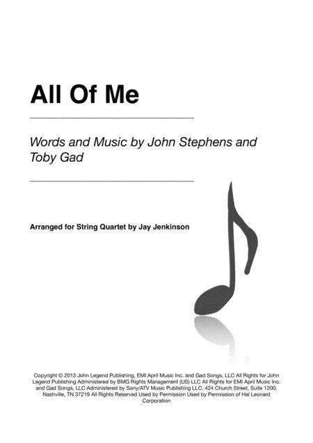 All Of Me for String Quartet