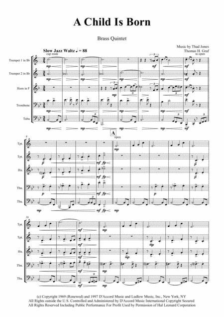 A Child Is Born - Christmas Jazz Waltz by Thad Jones  - Brass Quintet