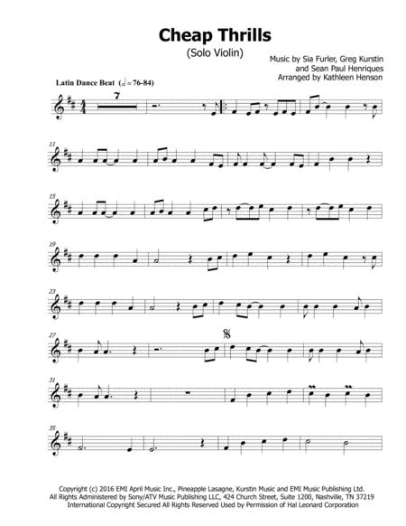 Download Cheap Thrills For Solo Violin Sheet Music By Sia