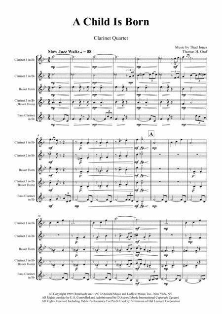 A Child Is Born - Christmas Jazz Waltz by Thad Jones  - Clarinet Quartet