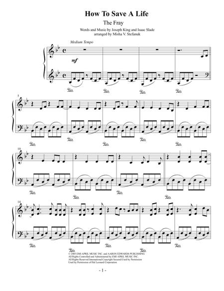 How To Save A Life Easy Piano By The Fray Digital Sheet Music For Piano Reduction Sheet Music Single Download Print H0 146039 105836 Sheet Music Plus