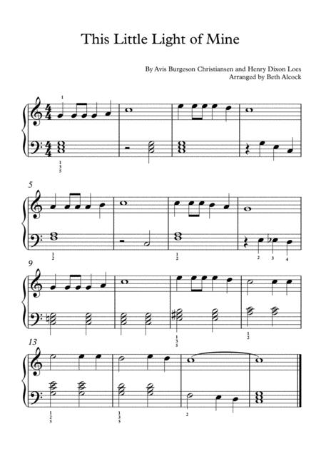 This Little Light Of Mine Easy Piano Solo By Avis