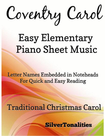Coventry Carol Easy Elementary Piano Sheet  Music