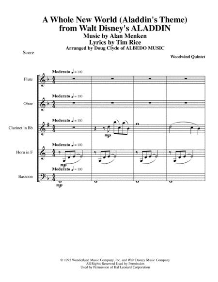 A Whole New World (Aladdin's Theme) from Walt Disney's ALADDIN for Woodwind Quintet