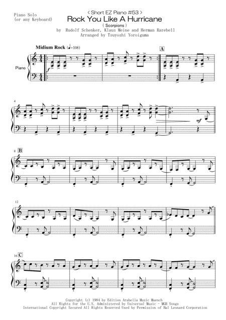 < Short EZ Piano #53 > Rock You Like A Hurricane (Scorpions)
