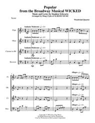 Popular from the Broadway Musical WICKED for Woodwind Quartet