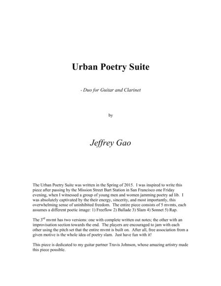 Urban Poetry Suite - for Guitar and B-flat Clarinet