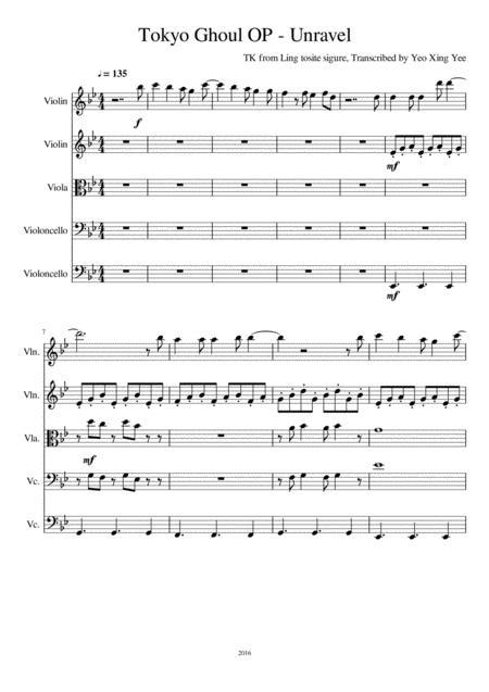 Unravel Sheet Music Keninamas