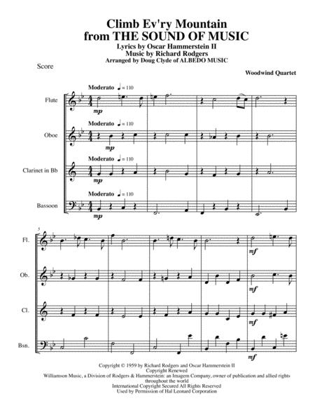 Climb Ev'ry Mountain from THE SOUND OF MUSIC for Woodwind Quartet