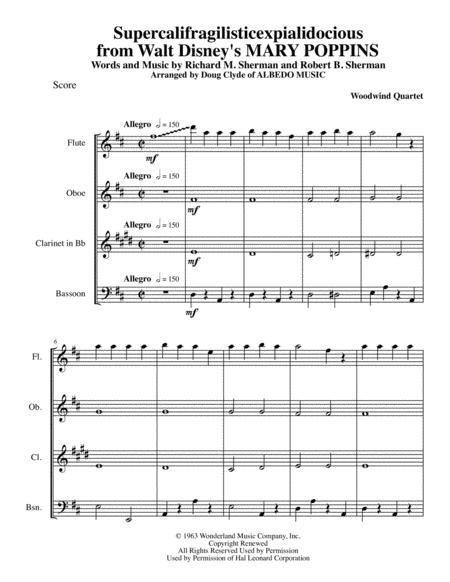 Supercalifragilisticexpialidocious from Walt Disney's MARY POPPINS for Woodwind Quartet