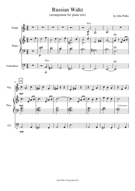 Traditional Waltz arranged arranged for a piano trio