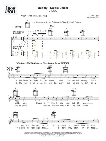 Download Bubbly Ukulele Sheet Music By Colbie Caillat Sheet