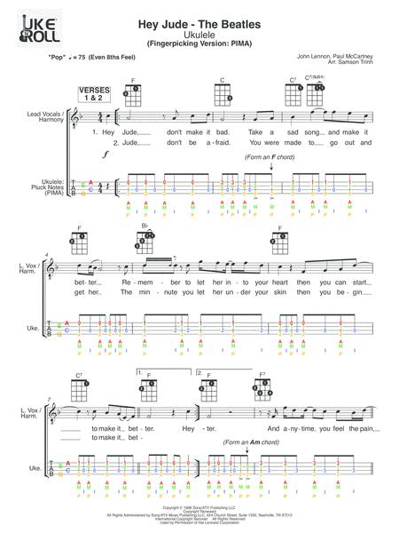 Download Hey Jude Ukulele Fingerpicking Sheet Music By The