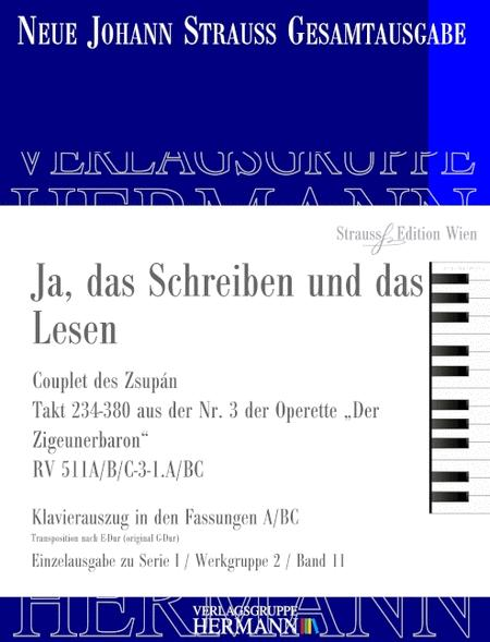 Ja Das Schreiben Und Das Lesen Rv 511abc 3 Sheet Music By Johann