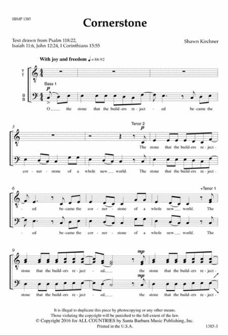 Cornerstone Music Sheet Erkalnathandedecker