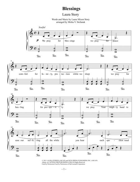 Download Blessings Easy Piano Sheet Music By Laura Story Sheet