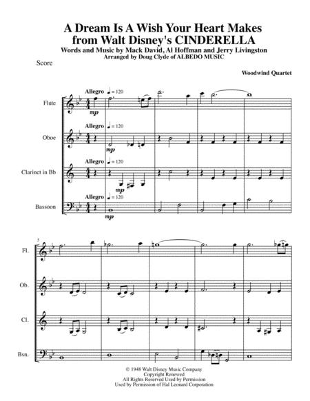 A Dream Is A Wish Your Heart Makes from Walt Disney's CINDERELLA for Woodwind Quartet