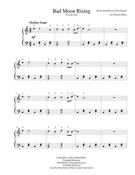 Download Bad Moon Rising - For Easy Piano Sheet Music By Creedence ...