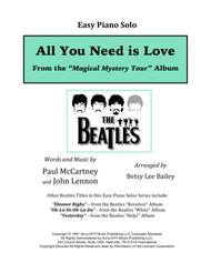 All You Need Is Love - Easy Piano Solo