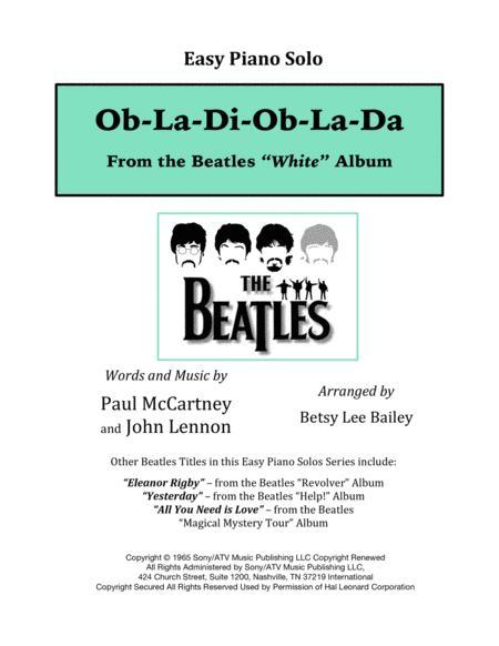 Download Ob La Di Ob La Da Easy Piano Solo Sheet Music By The