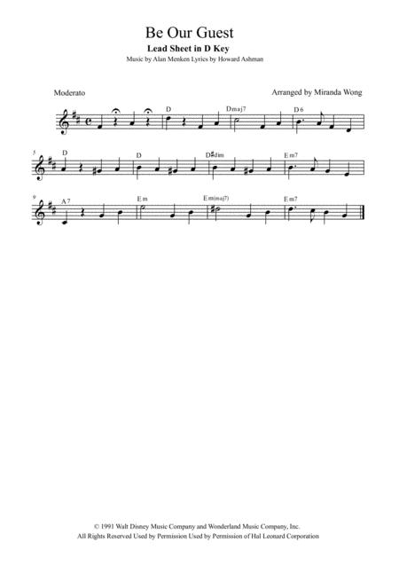 Be Our Guest - Lead Sheet in D (With Chords)