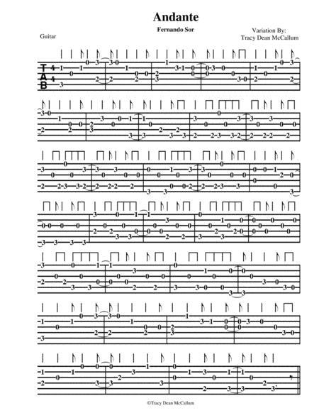 Andante Variation Fernando Sor Guitar Tablature