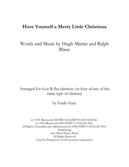 Have Yourself A Merry Little Christmas (4 Clarinets)