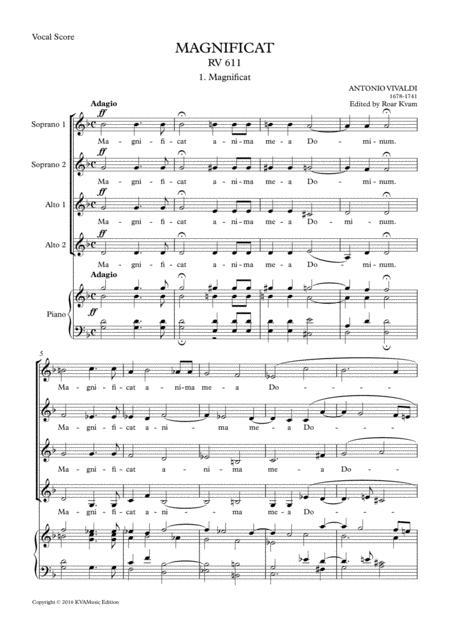 Vivaldi: Magnificat in G minor RV611, (SA soli, SSAA choir, vocal score)