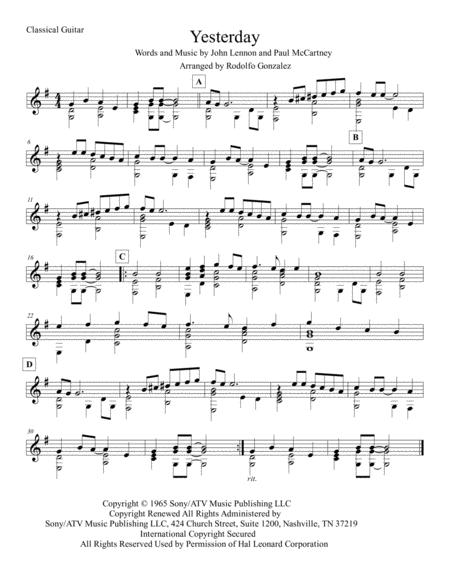 download yesterday for classical guitar sheet music by the. Black Bedroom Furniture Sets. Home Design Ideas