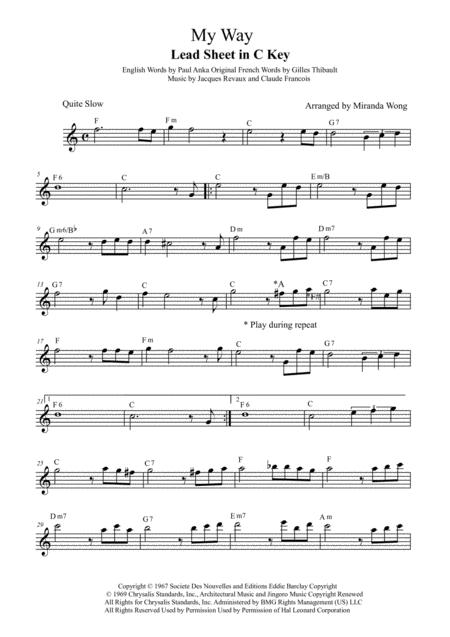 Download My Way - Lead Sheet In C Key (With Chords) Sheet Music By ...