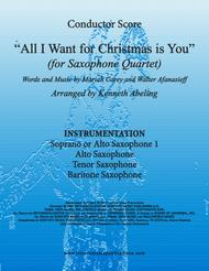 All I Want For Christmas Is You (for Saxophone Quartet SATB or AATB)