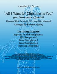 All I Want For Christmas Is You (for Saxophone Quintet SATTB or AATTB)