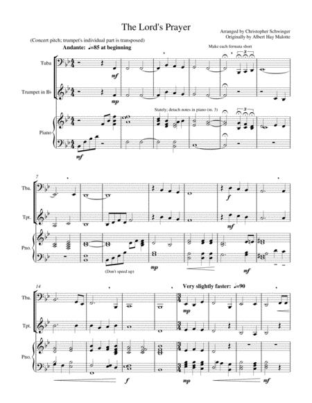 The Lord's Prayer - for tuba and piano with extra trumpet accompaniment
