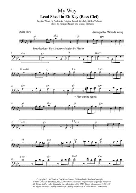 My Way Cello Solo With Chords By Paul Anka Digital Sheet Music For Lead Sheet Sheet Music Single Download Print H0 150405 579700 Sheet Music Plus