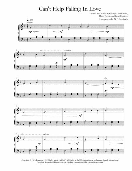 Download Cant Help Falling In Love Piano Solo Easy Sheet Music By